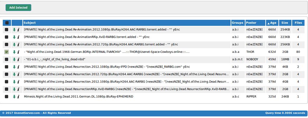 Usenetserver Selected Items